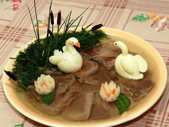 Niezwykła Dekoracja Potraw Jezioro łabędzie