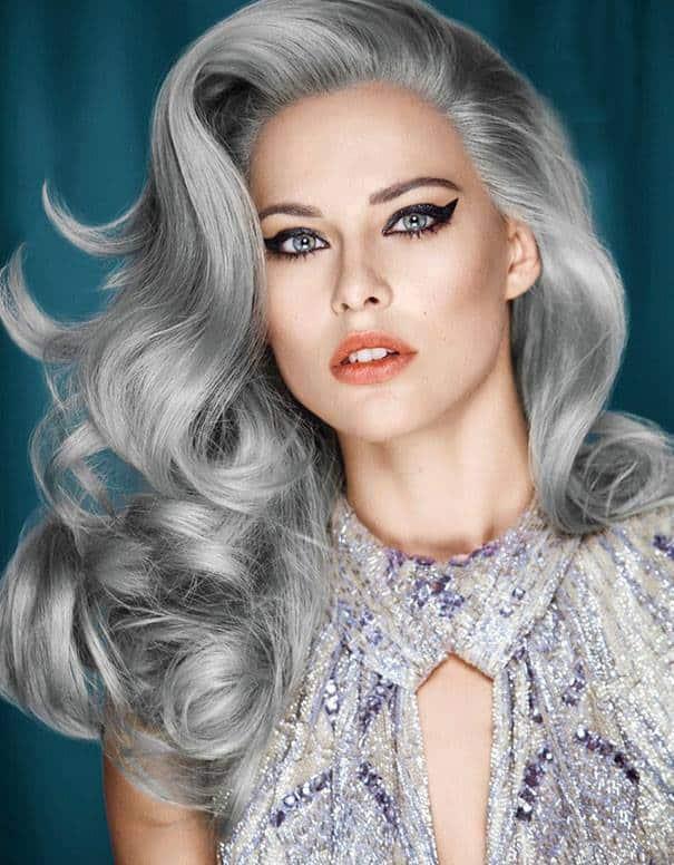 fryzura-siwe-wlosy (12),granny hair, siwe włosy, fryzury 2015, modny kolor, modne włosy, siwe włosy stylizacja, grannyhair, moda nasiwe włosy,