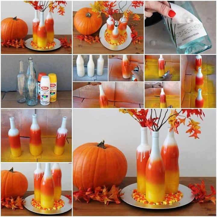 butelki ombre, wazon zbutelek, jesienne dekoracje, butelki malowane sprayem, butelki malowane farbą wsprayu, wazon zbutelki szklanej, wazon zbutelki powinie, jak zrobić wazon zbutelki
