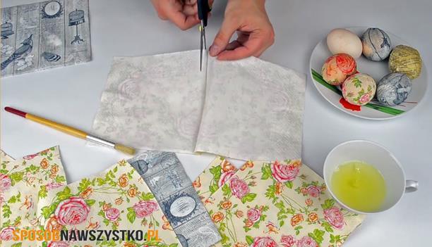 dekorowanie pisanek, pisanki decoupage, pisanki dekupaż, jak zrobić pisanki decoupage, robienie jajek decoupage, jak zrobić pisanki metodą decoupage
