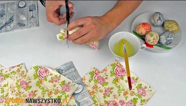 dekorowanie pisanek, pisanki decoupage, pisanki dekupaż, jak zrobić pisanki decoupage,