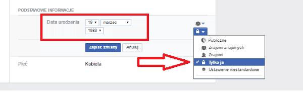 Facebook ukrywanie profilu, dane umieszczane naFB